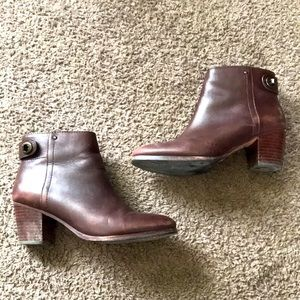 Coach leather zip-up ankle booties